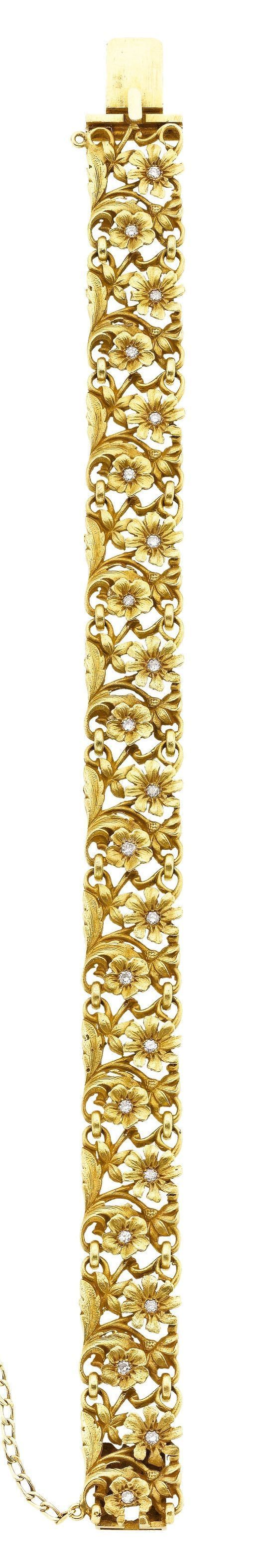 Art Nouveau Diamond, Gold Bracelet The bracelet features full-cut diamonds weighing a total of approximately 0.40 carat, set in 18k gold, French hallmarks. #goldbracelets #GoldJewelleryRoyal