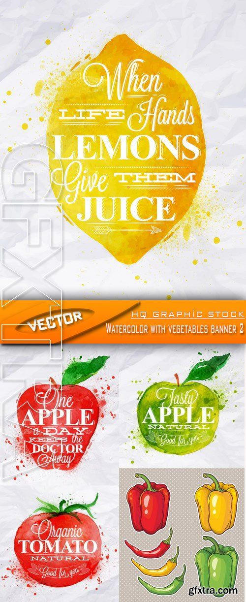 Stock Vector - Watercolor with vegetables banner 2