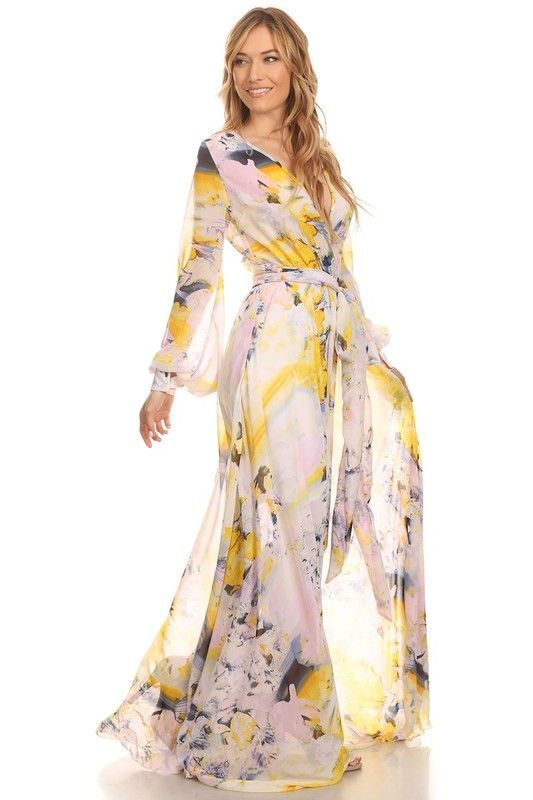 Show off your budding beauty and youthful spirit in this girlish and classic wrap style maxi dress. Our Meesh Wrap maxi dress is a style guaranteed to stand in a class all its own. It features long sl