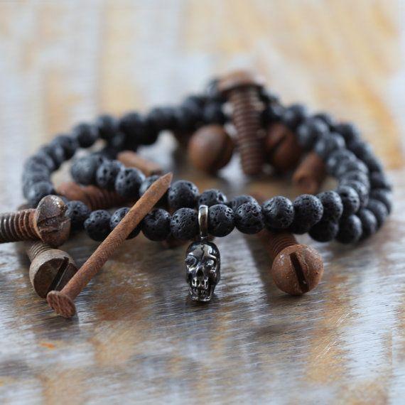 Mens Silver Bracelet Lava Bead Bracelets by carpediemjewellery