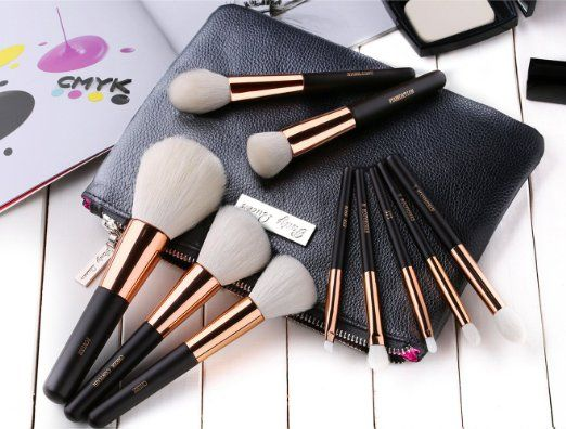 Amazon.com : Party Queen Luxury 10pcs Wool Makeup Brush Set With Case - Top Craftwork Level Up Your Brushes Collection : Beauty