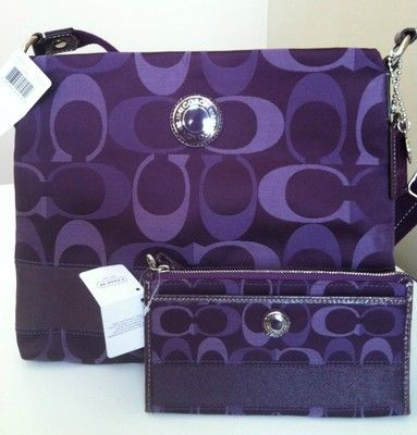 Coach Matching Purse and Wallet Set File Crossbody Purple Purse Tote: I so want this!