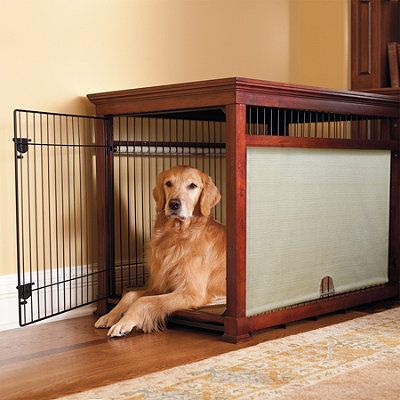 Build a frame for dog crate. Slip it over the top of the crate and create a table top.