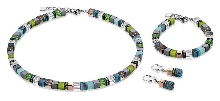 Geo Cube malachite fresh green and bronze necklace, earrings and bracelet 4670_0506 – coeur de lion jewellery