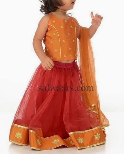 Indian Dresses: Lovely Baby in Red Net Skirt