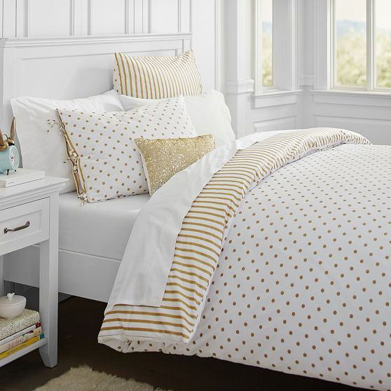 The Emily + Meritt Metallic Dottie Duvet Cover + Sham | PBteen Gold Polka Dot  Tween Teen Room