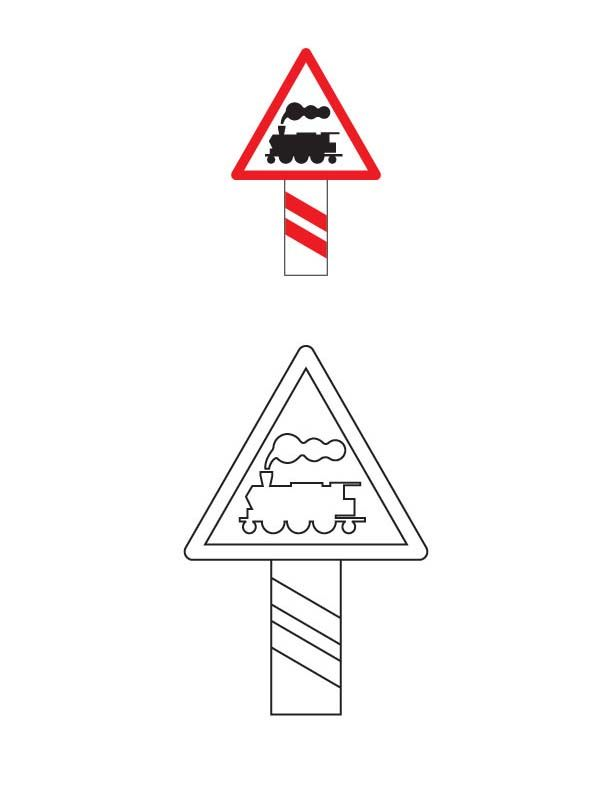 Unguarded railway crossing traffic sign coloring page