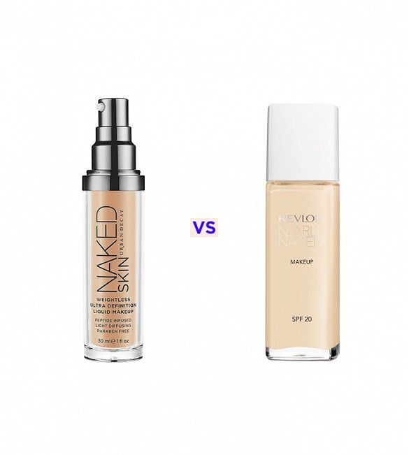 Urban Decay Naked Skin Weightless Ultra Definition Liquid Makeup ($39) vs Revlon Nearly Naked Makeup ($10) #dupe