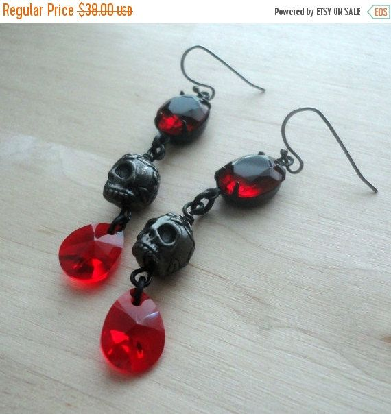 ON SALE TODAY Red and Black Skull Jewelry Gothic Jewelry Skull Earrings Gothic Earrings Black Skull Earrings Black Jewelry by pink80sgirl on Etsy