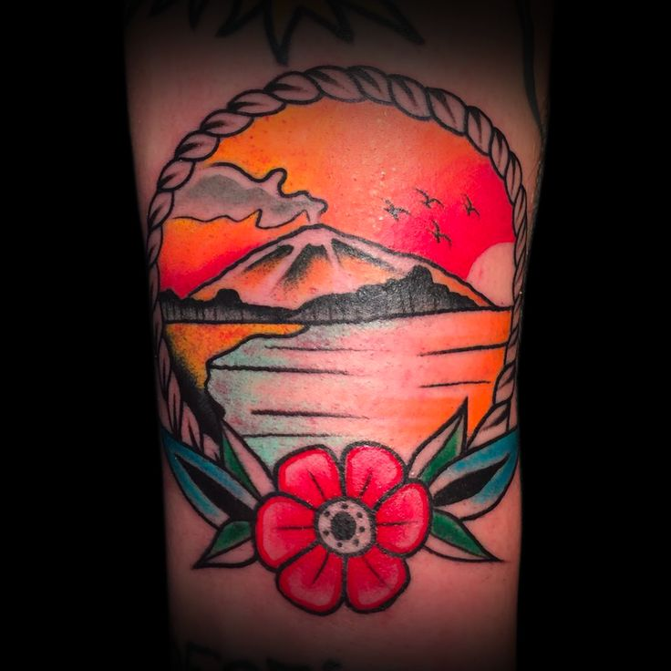 View from Afrobar facing Etna in the sunset in Catania's beach. ANDREA MAGRASSI for Bov's arm. #traditional #tattoo #traditionaltatttoo #ArtOfCamden #ArtOfCamdenTattooShop #AOC #Camden