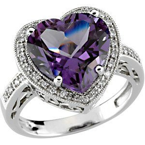 14kt White Gold Amethyst and Diamond Ring. Find it at a jeweler near you: http://stuller.com/locateajeweler/