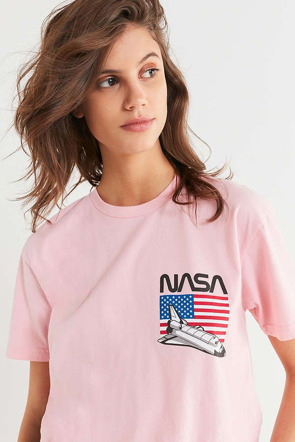 Slide View: 1: NASA Spaceship + Flag Tee