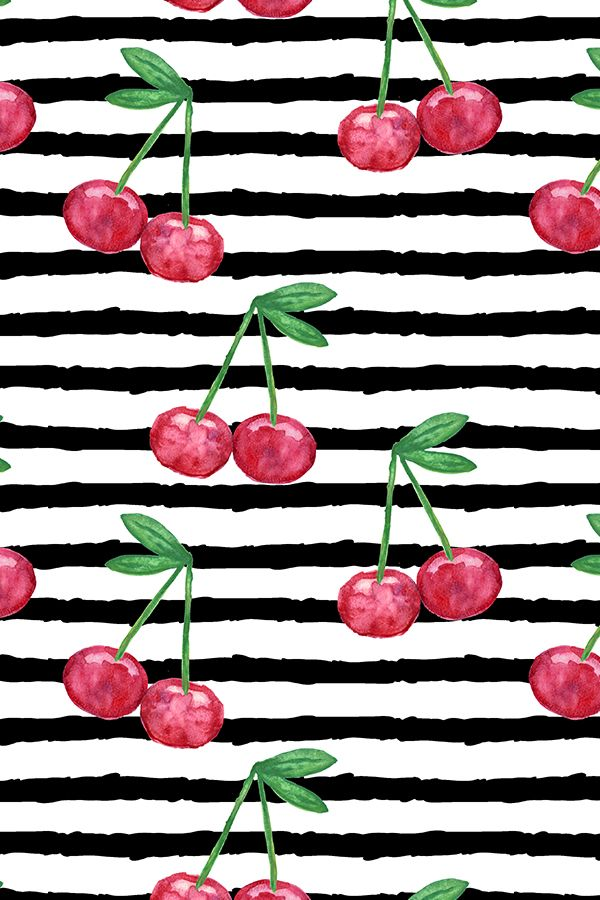 Watercolor Cherries on Stripes by littlearrowdesign.  Black stripes on a white background with hand painted bright red cherries and green leaves.  Funky and modern cherry design on fabric, wallpaper, and gift wrap.