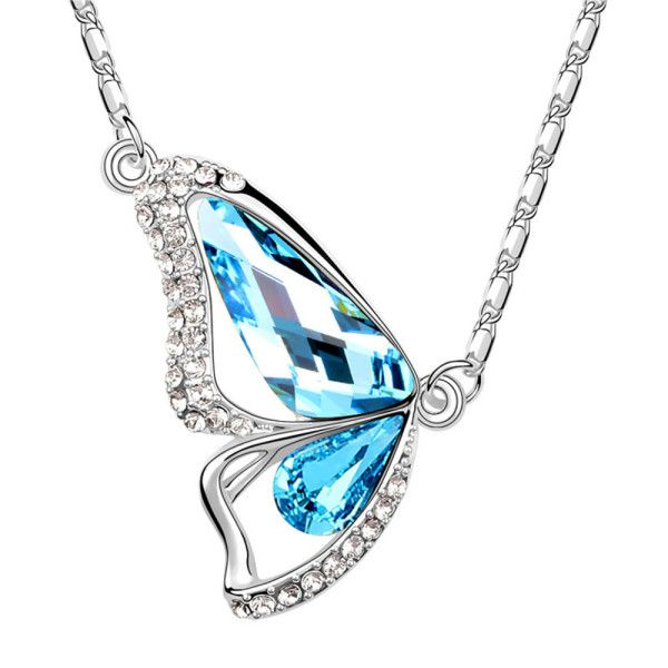 Swarovski Elements Butterfly Shape Blue Crystal Pendant by Trendymela.com