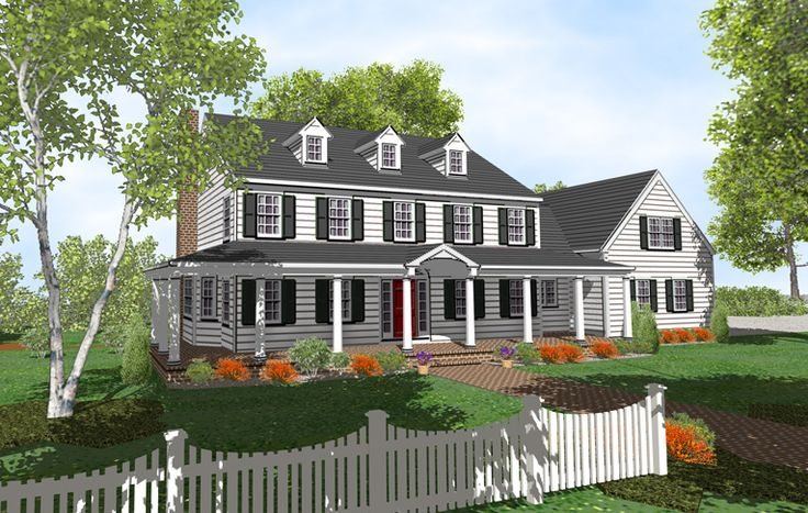 19 best house styles images on pinterest house styles for Colonial house plans with porch