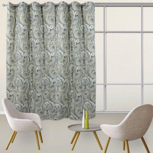Κουρτίνα υφασμάτινη της σειράς Curtain line prints με μοντέρνους κρίκους ανάρτησης, ύφασμα 50% βαμβάκι-50% polyester, υψηλής σκίασης - Διαστάσεις: 140x280εκ.