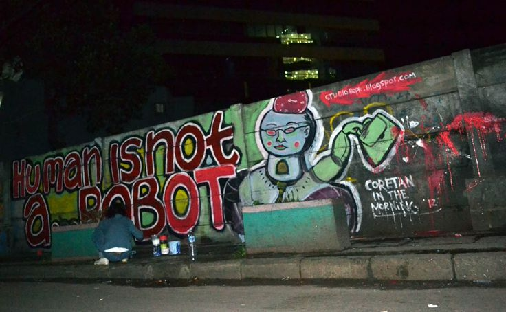 human is not a robot , in front cyber building, jakarta #streetart #mural #public