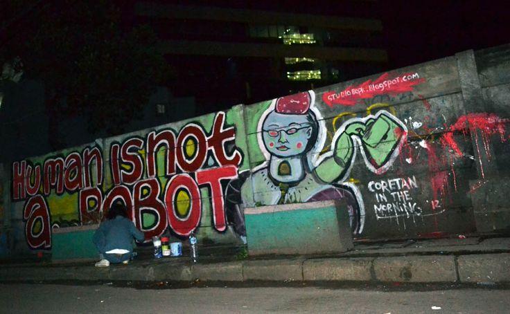 human is not a robot , in front cyber building, jakarta #streetart #mural #public