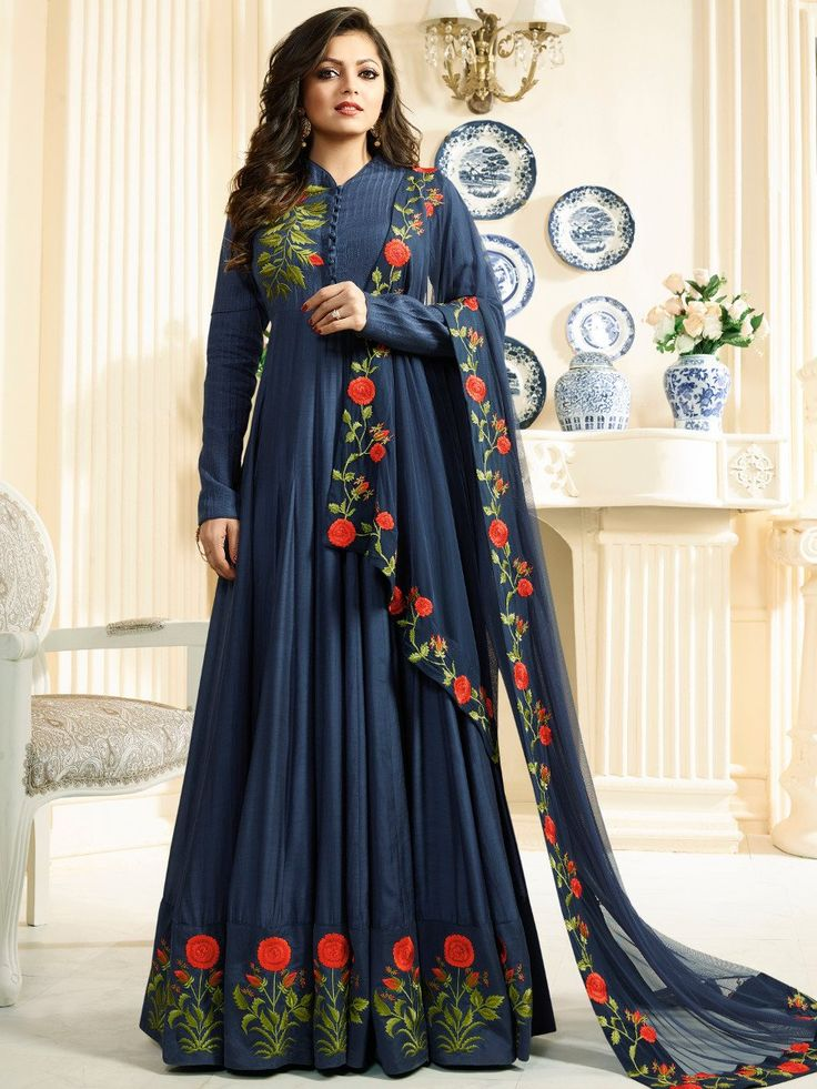 Shop Drashti Dhami navy blue color silk party wear anarkali kameez online at kollybollyethnics from India with free worldwide shipping.