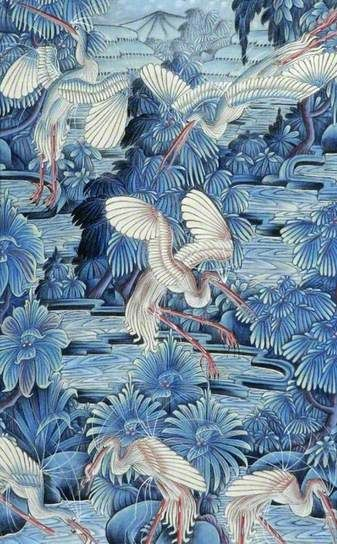Herons in a Forest and River Landscape* ~ 1980s, by Balinese (Pengosekan) School
