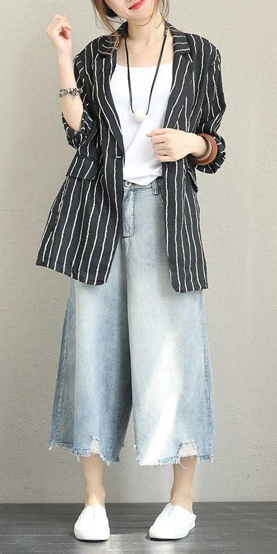 50b3d612af Fashion Black Striped Linen Coat Women Fall Jacket Q1369