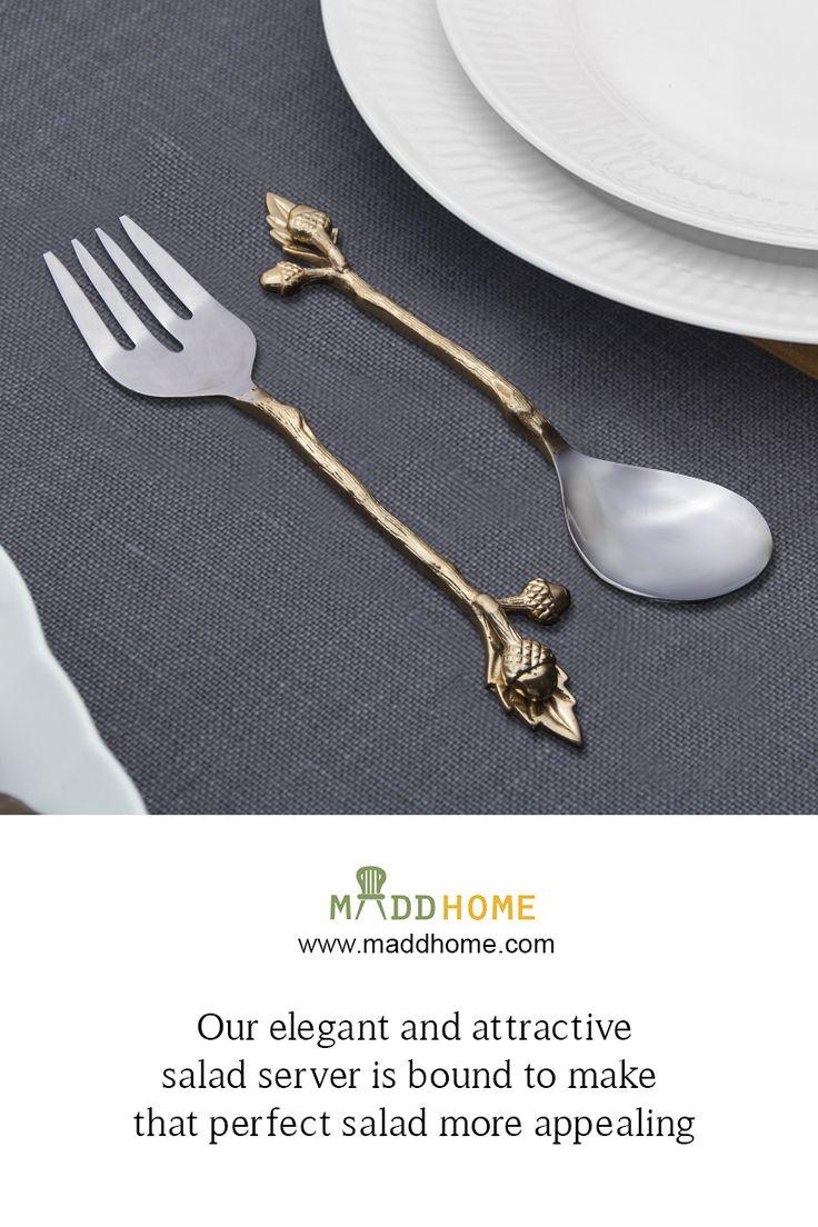 Surprise your Dinner Guests!  #MaddHome #HomeDecor #SaladServer  Shop Now:- https://www.maddhome.com/serving-platters/silver-and-gold-finished-steel-salad-server-set.html