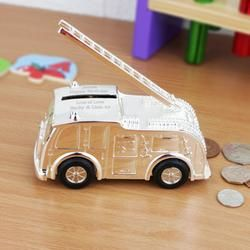 Personalised Fire Engine Money Box