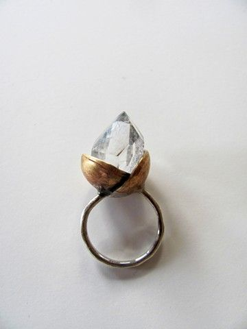 brass, silver + crystal quartz Made to order. Please specify your ring size…