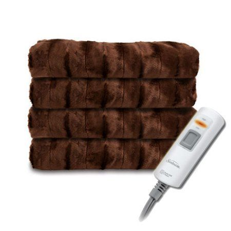 """Sunbeam Faux Fur Ultra-Soft Heated Electric Throw Blanket - Walnut Brown - may need something longer than 60"""" though!!!"""