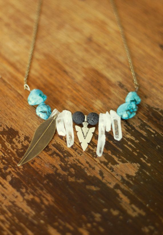 Tribal Crystal Necklace  turquoise quartz lava by ShadeOfABonsai, $25.00