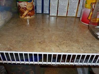 Use self stick tiles for lining wire shelves for a smooth flat surface! Works on wood shelving too :)  I did this in my pantry and also under the cabinets in the bathrooms... works fabulously