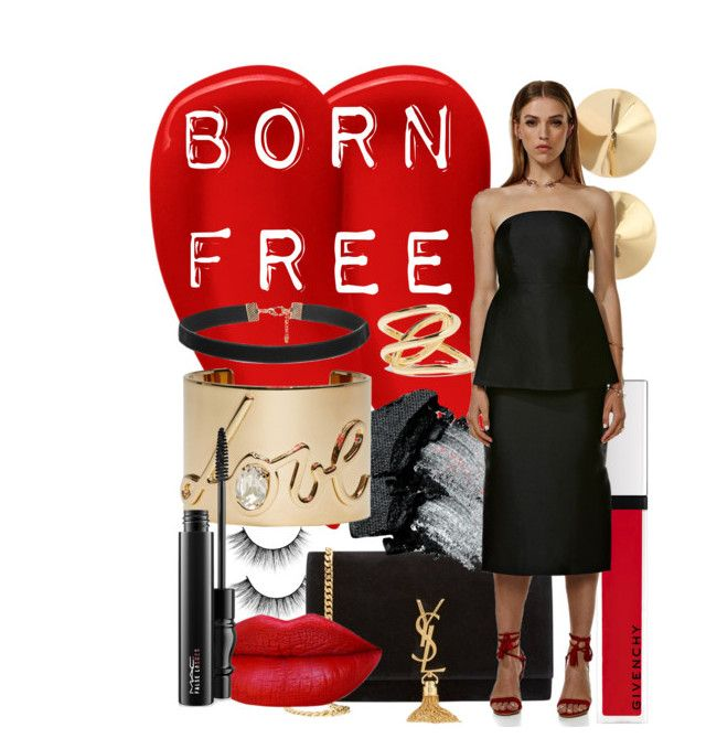"""""""Born Free Party Dress"""" by swishclothing-official on Polyvore featuring Givenchy, Eddie Borgo, Lipstick Queen, Yves Saint Laurent, Gorgeous Cosmetics, Lanvin, Jennifer Fisher, MAC Cosmetics, women's clothing and women"""