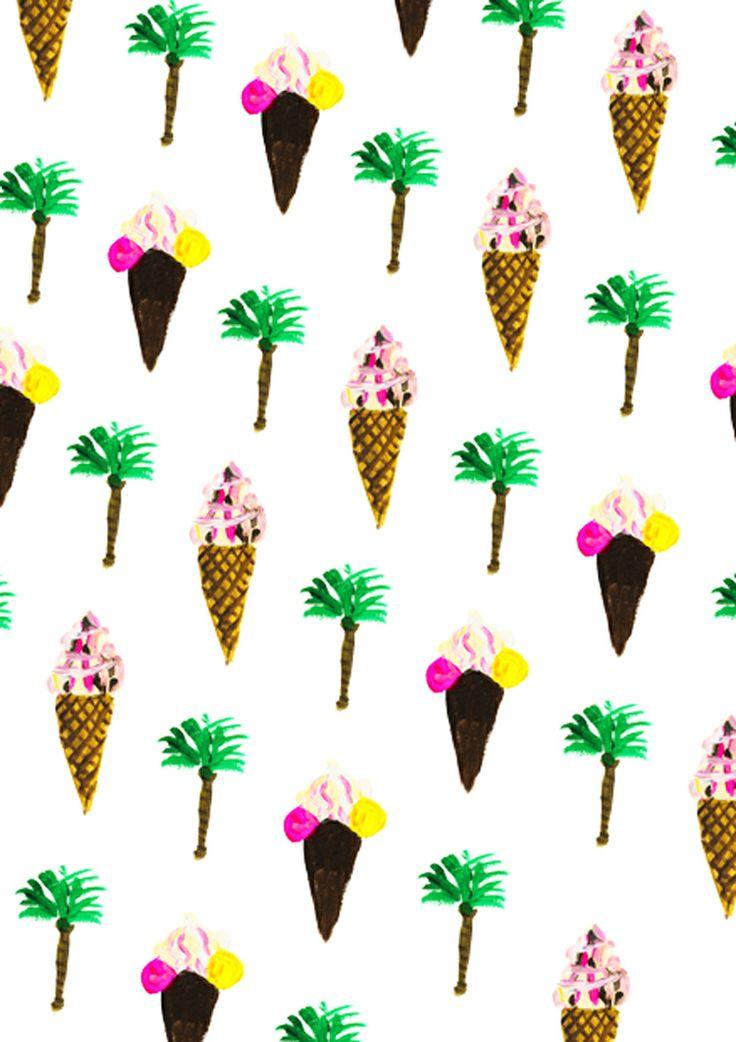 #summer #pattern #watercolor #icecream #palmtrees #pineapple