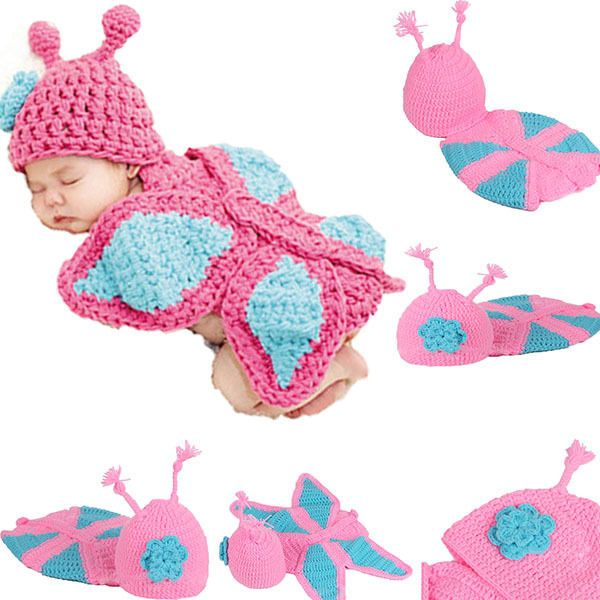 $5.55 Cute Kids Baby Toddler Costume Butterfly Suit Photo Prop Knit Crochet Hat Cap #unbranded
