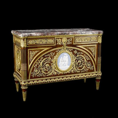 Louis XVI style gilt bronze and porcelain mounted mahogany commode a vantaux after Guillaume BennemanFrançois Linkefourth quarter  19th century