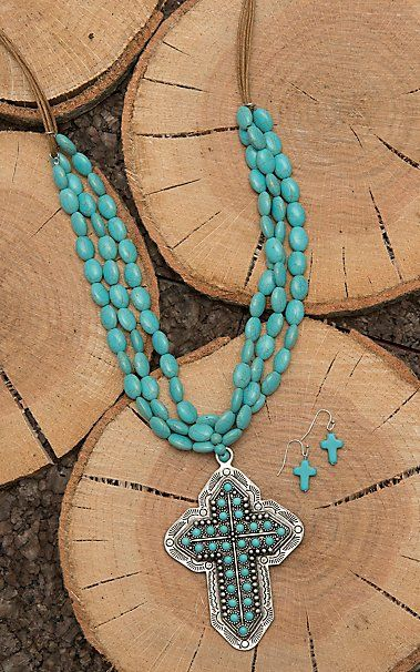 Wired Heart Tan Leather with Turquoise Beading and Cross Pendant Jewelry Set | Cavender's