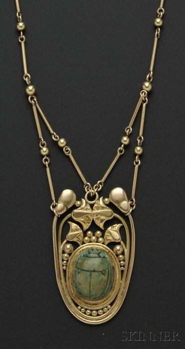 Arts & Crafts 14kt Gold and Faience Scarab Necklace