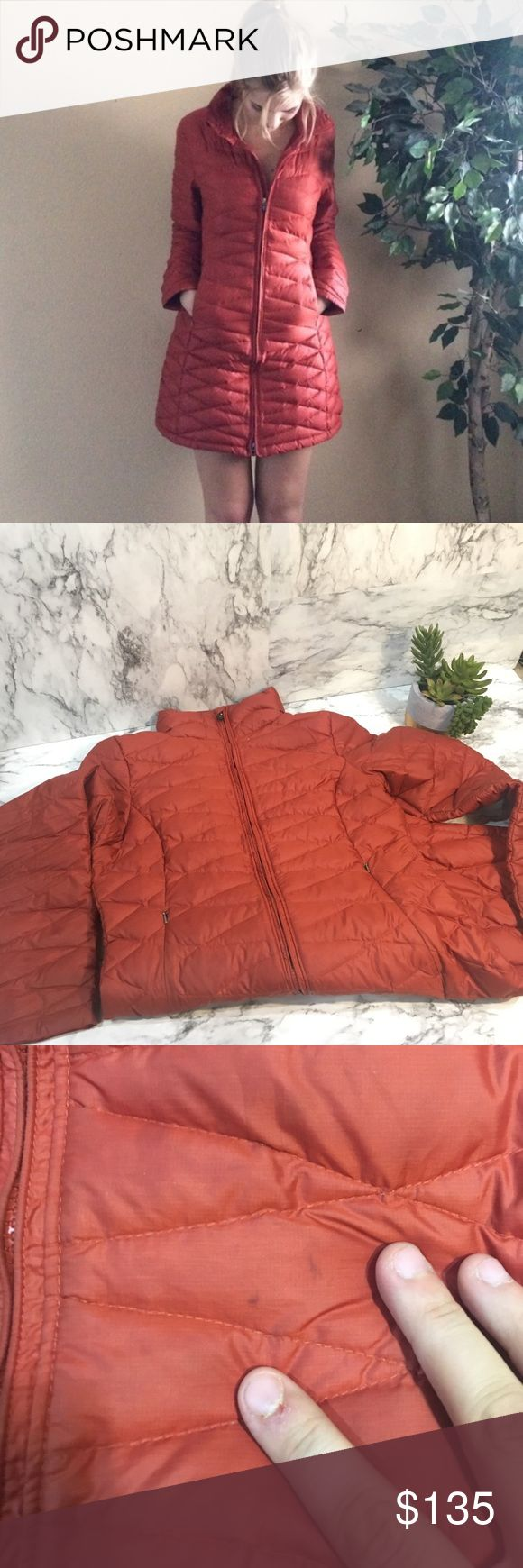 Patagonia parka burnt orange M Good preowned condition has a few hard to see marks I haven't tried to remove see pic. Warm and long in length. Just too small on me now. Down coat Patagonia Jackets & Coats Puffers
