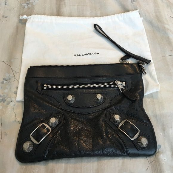 Authentic Balenciaga clutch. Anthracite The color is almost black. I would call it dark dark grey. Preloved. Balenciaga Bags Clutches & Wristlets