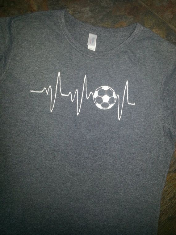 Soccer T-shirt Embroidery Soccer Heart Monitor by M5XDesigns4u