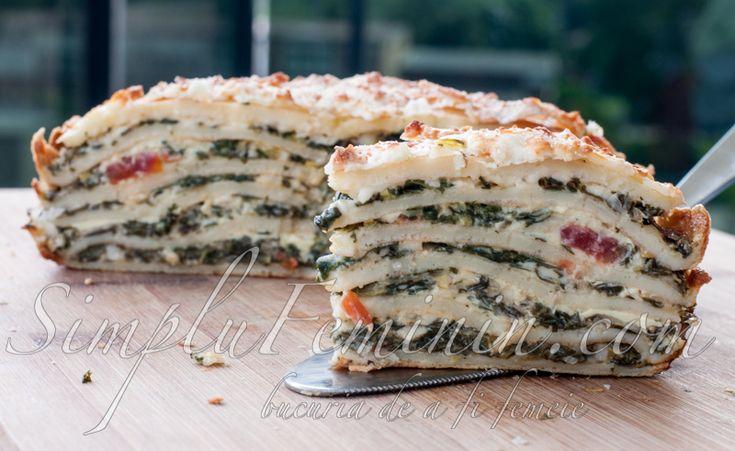 Tort aperitiv de clatite cu spanac si branza   Simplu Feminin