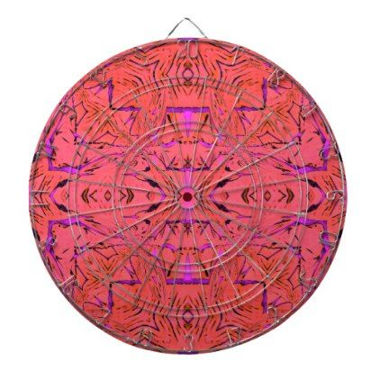 Modern Orange Pink Vibrant Neon Pop Colors Dartboard With Darts
