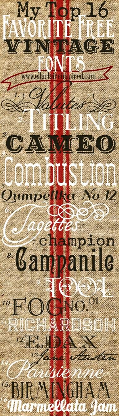 16 Free Vintage Fonts~ Create your own 1vintage typography! 16 tipos de letras Vintage para descargar gratis.
