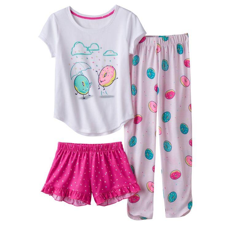 Girls 4-16 SO® 3-pc. Sprinkle Donut Pajama Set, Size: Xs (5/6), Natural