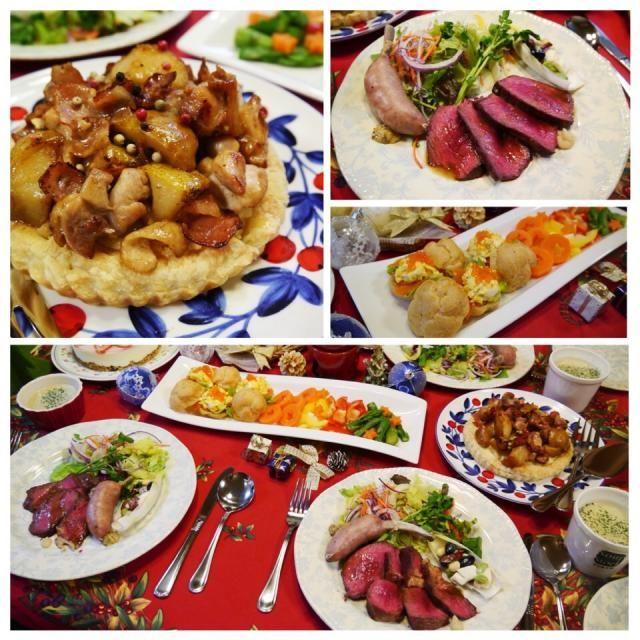 今年のクリスマス・ディナーです✨ *メイン サーロインのローストビーフ 骨付きソーセージ チコリボート *鶏肉と洋梨のパイ *牡蠣のポタージュ *オードブル バーニャカウダ プチシュー *米粉ミルクパン *苺のレアチーズケーキ 息子は牡蠣のポタージュが、夫はローストビーフが一番だったそうです✨ - 110件のもぐもぐ - Chistmas Dinner 2014 by メイスイ