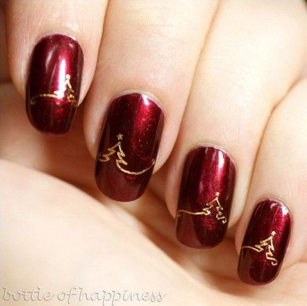 Red Holiday Manicures with Gold Christmas Tree Accents