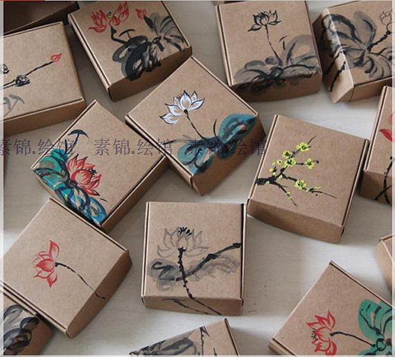 12pcs 7.5x7.5x3cm-Kraft Paper Box Jewelry Gift Handmade Soap Floral Paper Packaging Box-Chocolate Gift Packaging Candy Box-wedding favor box...