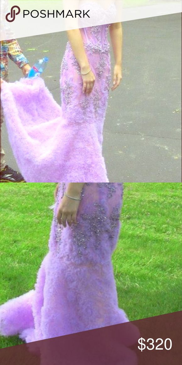 Prom dress Beautiful lavender dress with silver beading down the front and tuelle bottom strapless and zip up on the back janique Dresses Prom
