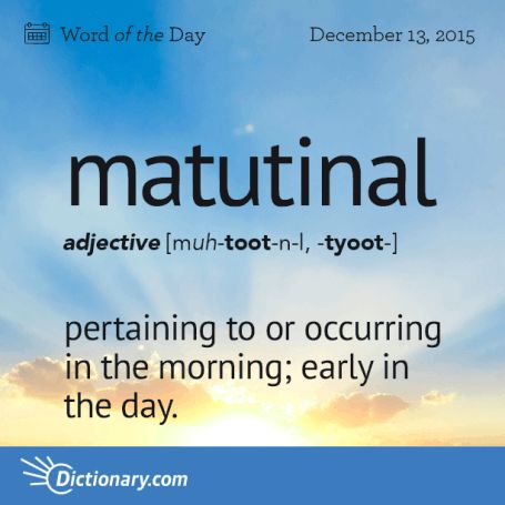 Matutinal - Pertaining to or occurring in the morning; early in the day