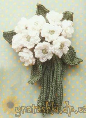 крючком цветочные букеты